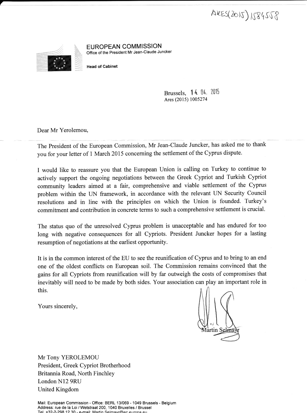 Resolution Reply Juncker 14.04.15